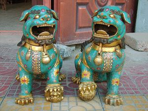 Chinese Cloisonne Guardian Dogs